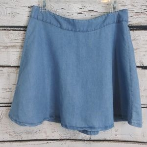Celebrity Pink/ Chambray Jean Mini Skirt/ Large